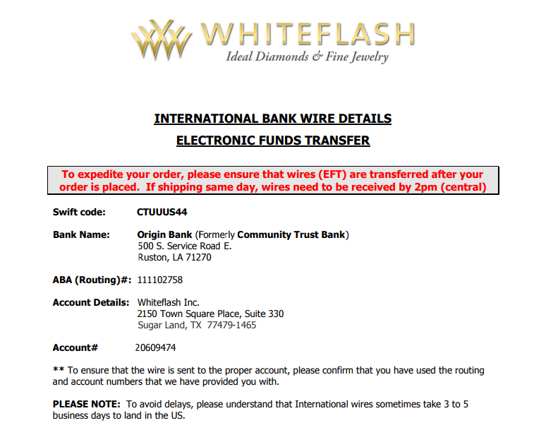 wire transfer payment instructions