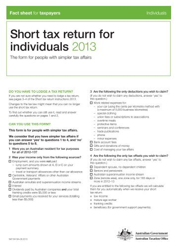 short tax return instructions 2013